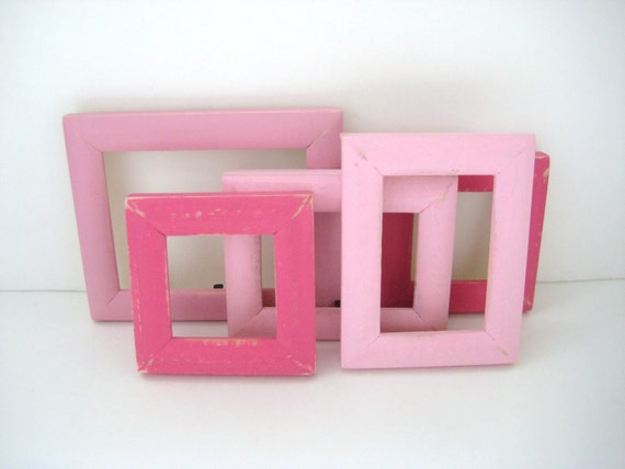 5 Small Picture Frames - Shabby Chic Distressed - Pink - Photo Frames