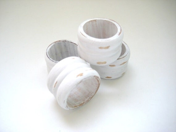 White Napkin Rings - Distressed Shabby Chic - Hostess Gift - Upcycled OOAK