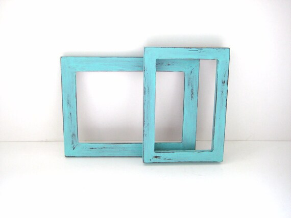 2 Turquoise Picture Frames - Shabby Chic Distressed Photo Frames