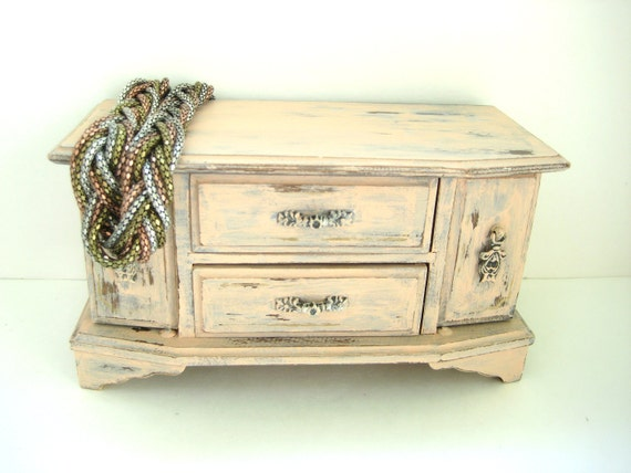 Vintage Jewelry Box - Peach Distressed - Shabby Chic French Country