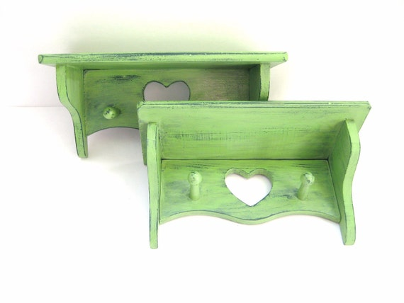 Wall Shelf with Hooks - Pair of 2 - Advocado Green - Distressed Country Home Decor