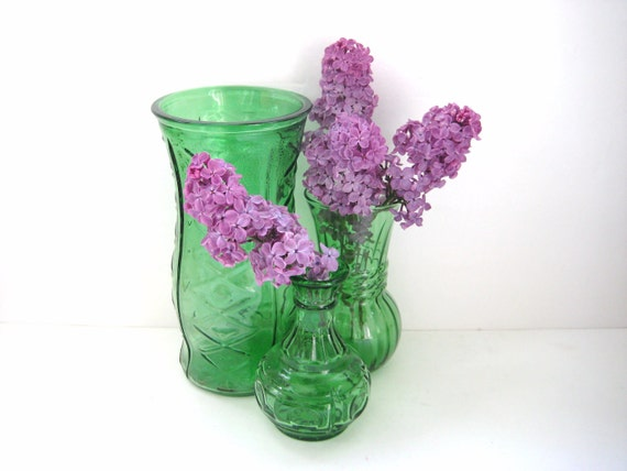 FOR IRIS - Vintage Vase - Beautiful Green Glass - Collection of 3 - Eclectic Decor