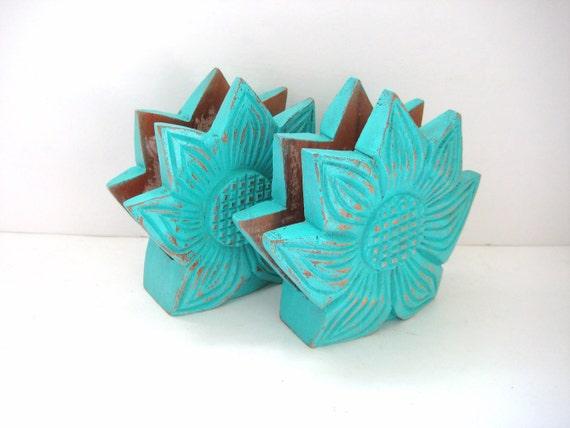 SALE - Turquoise Napkin Holder - Shabby Chic Kitchen - Sunflower - Set of 2
