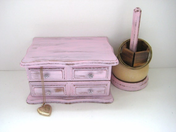 RESERVED for Vito - Pink Jewelry Box and Bracelet Holder - Shabby Chic Distressed - French Country