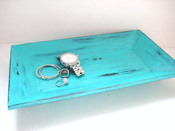 Turquoise Tray - Shabby Chic Distressed - OOAK Upcycled