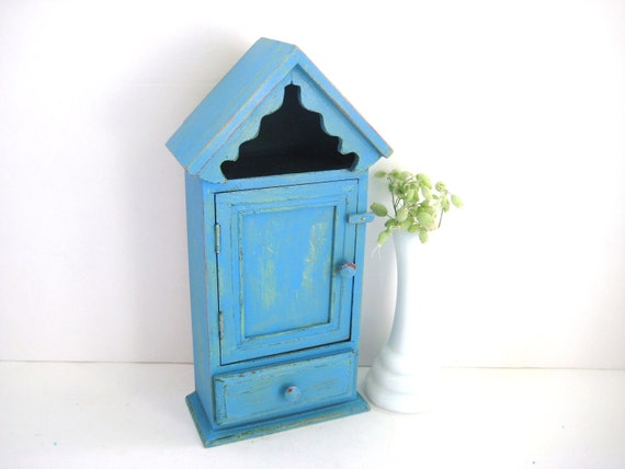Beautiful Blue Cupboard - Shabby Chic Distressed - Vintage Upcycled - Storage Organization