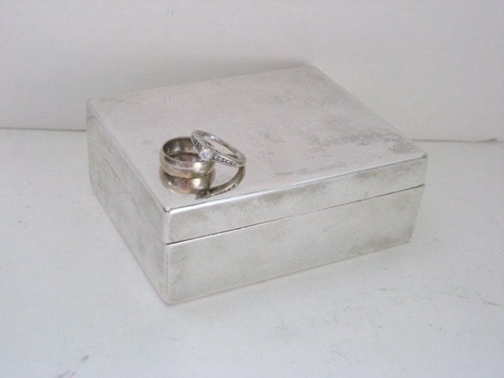 Small Jewelry Box - Silver Plated - Engraveable - Wedding - For Him or Her