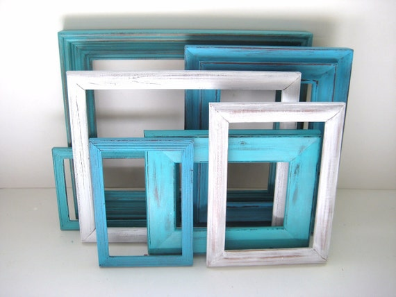 RESERVED for Jane - Turquoise Aqua White Picture Frames - Gallery of 7 - With Glass - Shabby Chic Distressed