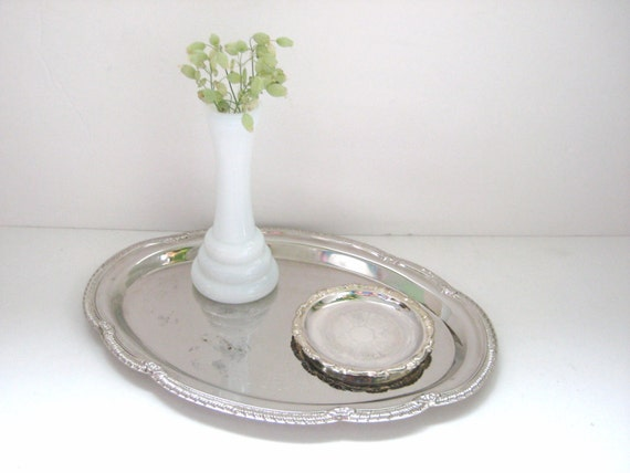 Silver Tray - Collection of 2 - Patina - Vintage Decor - Elegant Wedding