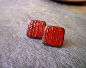 Square Post Earrings -  Red Brick