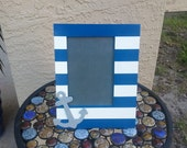Personalized NAUTICAL themed picture frame with anchor, blue and white