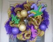 Mardi Gras, deco mesh holiday wreath