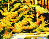 Fall Trees and River Fine Art Print, Tranquility, Giclee Print, Pastel Painting By Jan Maitland, Fall Colors, River Scene, Rapid Water, 8x10