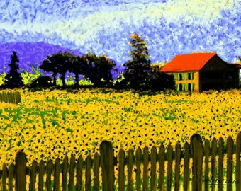 Sunflowers Fine Art Giclee Print, Tuscany Sunflower Field, Painting By Jan Maitland, Sunflowers, Farmhouse, Italy, Landscape, 8 X 10