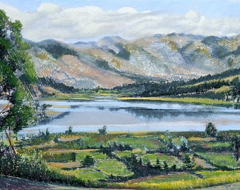 "Fine Art Giclee Print, Andes, Mountains, Lake, Landscape, Pastel Painting By Jan Maitland, Archival Print, 8"" X 10"", Signed by the Artist"