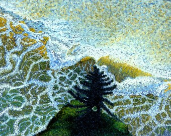 "Ocean Fine Art Giclee Print, Fir and Lace, Ocean, Waves, Fir Tree, Archival Print, Pastel Painting By Jan Maitland, Seascape, 8 "" X 10"""