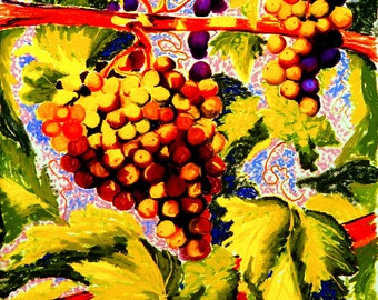 Grapes On the Vine Fine Art Print, Giclee Print, Pastel Painting By Jan Maitland, Purple, Green, Yellow, Rust, Mauve, Archival 8x10