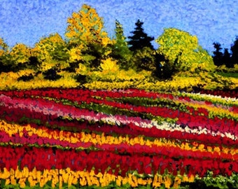 Tulips Fine Art Print, Tulip Field, Giclee Print, Pastel Painting By Jan Maitland, Red, Yellow, Blue, Spring Flowers, Landscape, 8 X 10