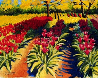 Tulips Fine Art Print, Spring Is Here, Giclee, Pastel Painting By Jan Maitland, Field of Tulips, Red,  Yellow, Flowers, Landscape, 8 X 10