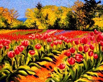 Tulips Fine Art Print, Giclee Print, Pastel Painting By Jan Maitland, Red, Green, Deep Pink, Field of Tulips, Flowers, Landscape, 8 X 10