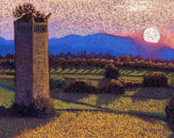 Trevi, Italy Fine Art Print, Italian Sunset, Landscape, Orchard, Mountains, Tower, Giclee Print, Pastel Painting By Jan Maitland, 8x10