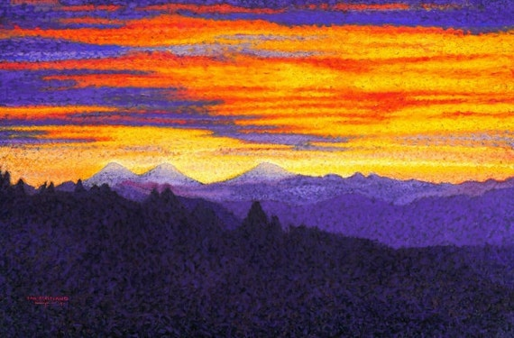 """Fine Art Giclee Print, Three Sisters Mountains, Pastel Painting By Jan Maitland, Sunrise, Mountains and Morning Sky, Landscape, 8""""X10"""""""
