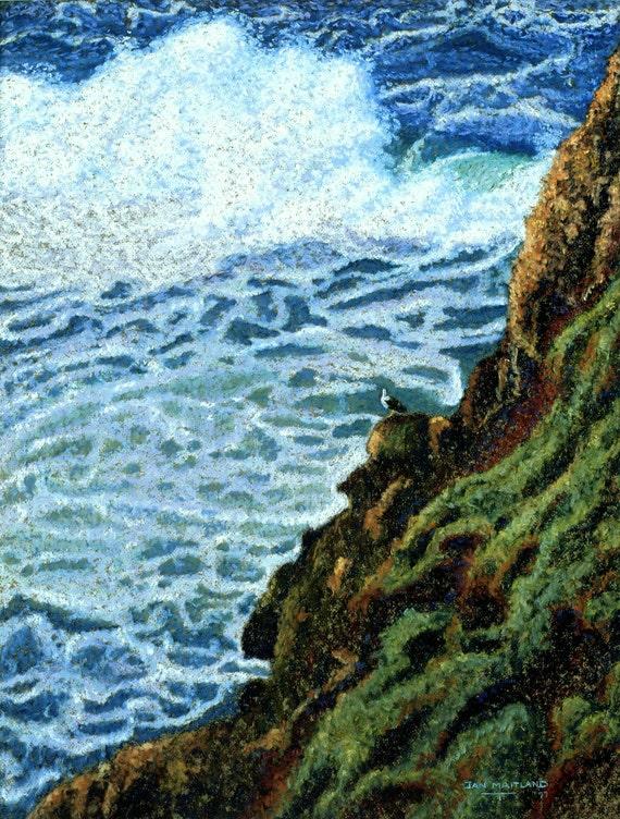 Fine Art Giclee Print, Sea Gull's View, Giclee, Pastel Painting By Jan Maitland, Ocean Scene, Seascape, Coastal, Waves, Rock Cliff