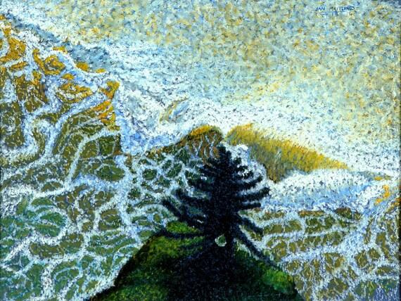 "Ocean Fine Art Giclee Print, Fir and Lace, Ocean, Waves, Fir Tree, Archival Print, Pastel Painting By Jan Maitland, Seascape, 8 "" X 10"""