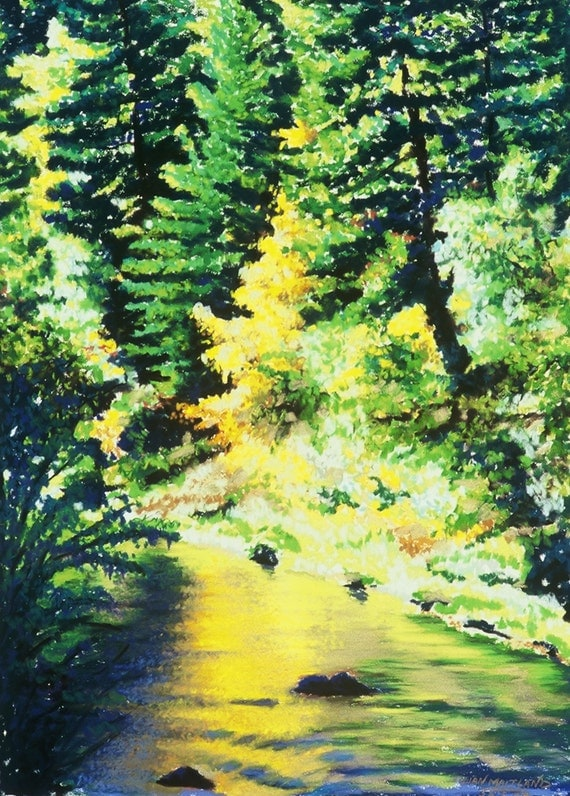 Trees and River Fine Art Print, Autumn Reflection, Golden River, Giclee Print, Pastel Painting By Jan Maitland, Landscape, Green, Gold, 8x10