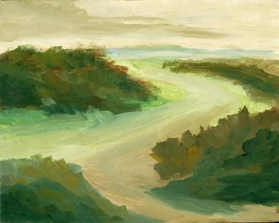 Sandy Path Fine Art Print, Sandy Path to the Beach, Giclee Print, Acrylic Painting By Robert Maitland, Landscape, Green, 8x10