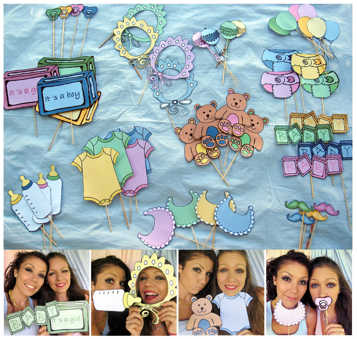 baby photo booth props in pink blue yellow or green