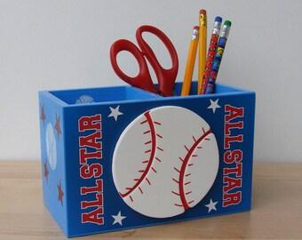 blue baseball desk caddy