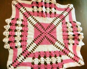 "Vintage Handmade Mauve and Cream Crochet Doily 18 1/2"" X 18 1/2"""