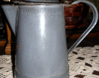 Vintage (not a reproduction) Enamel Gray Coffee Pot with Green Wooden Knob on Top