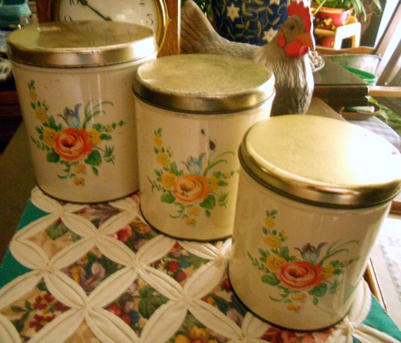 Vintage Decoware Tin Cannisters from the 1960s with Orange & Yellow Flowers, Very Well Used, Set of Three