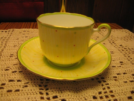 Old Royal China cup and saucer - Green polka dot