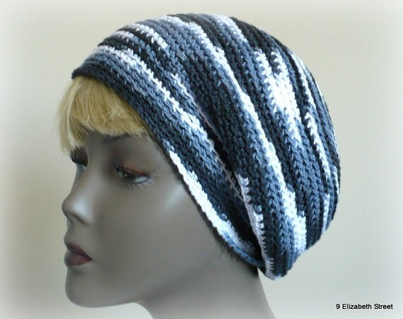 Slouchy Striped Cloche, Hand Crocheted Hat, slouchy tam or beanie