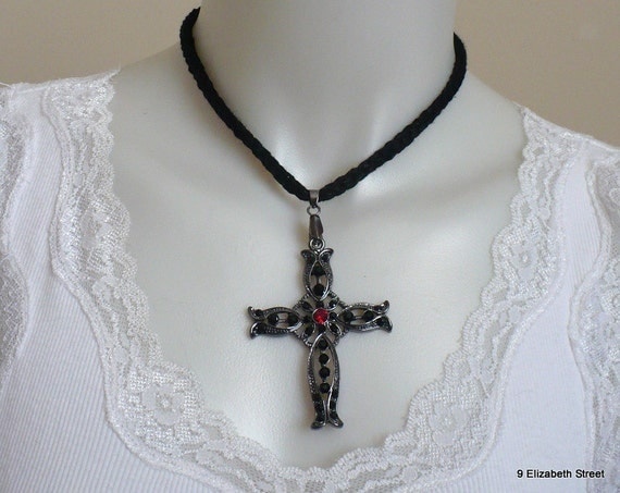 Gothic style cross on knitted cord necklace, black cross with ruby pendant necklace