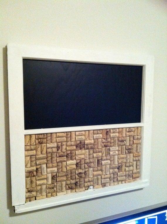 Reclaimed Vintage Window Cork/Chalk Board