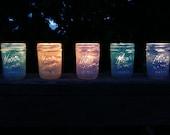 Wedding and Home Decor - painted mason jars - favors or lanterns - half pint