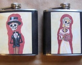 Wedding Flask Set - Day of the Dead Bride and Groom