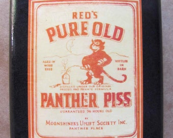 Flask, Funny, Vintage, Groom, Groomsmen Gift, Wedding Party, Whisky,  - Pure Old Panther Piss - Moonshine label