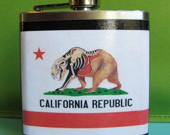 Flask - The California Flag with half of the bear- FREE SHIPPING