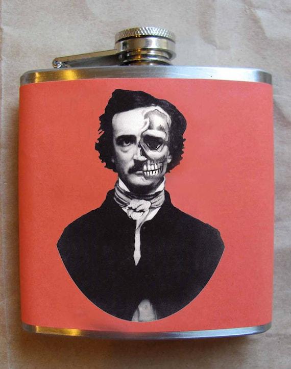 Edgar Allan Poe Flask - Half face with Skull