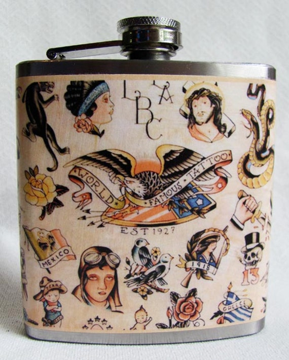 Classic Tattoo Flask - Vintage American designs - Front and back