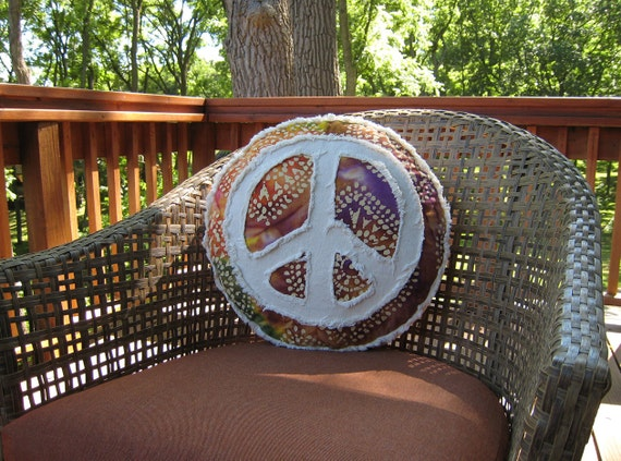 Peace sign pillow rainbow tie dye batik and distressed denim