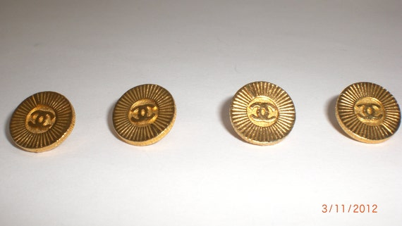 4 Vintage Chanel Gold Metal Half Inch Buttons