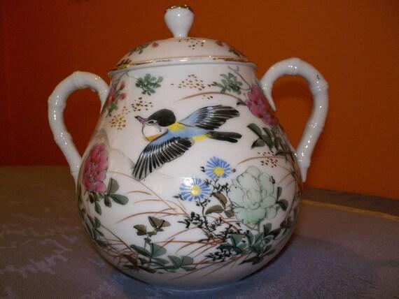Antique Fine Porcelain SUGAR BOWL or TEAPOT/ Hand Painted & Gold Leafed Jar/ Asian Inspired Lidded Pot/ Ginger Jar/ Vintage Sugar Bows