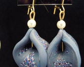 Smoky Blue Mosaic Design Magic Lantern Earrings with Pearl Beads, Gold Kidney Wires