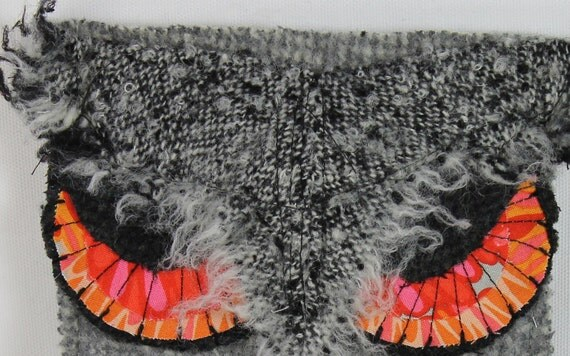 Kindle Case Grey Felted Wool GREAT HORNED OWL